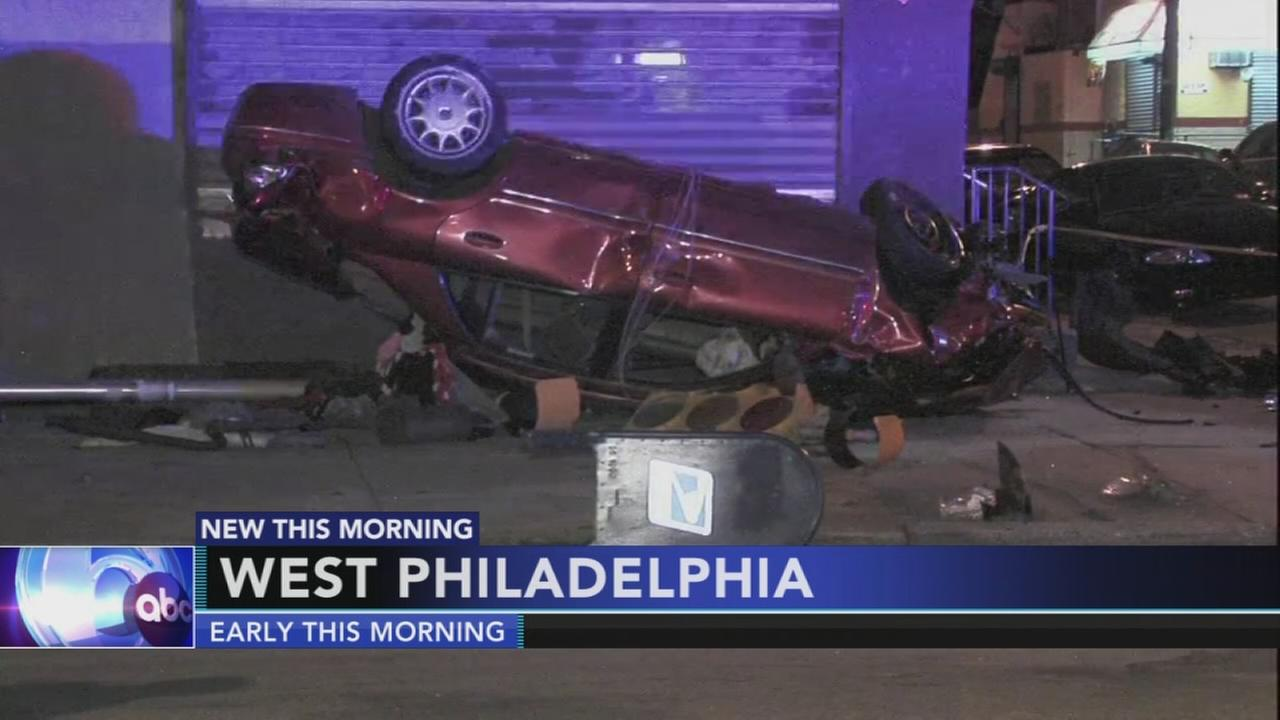 3 injured in West Philadelphia rollover crash