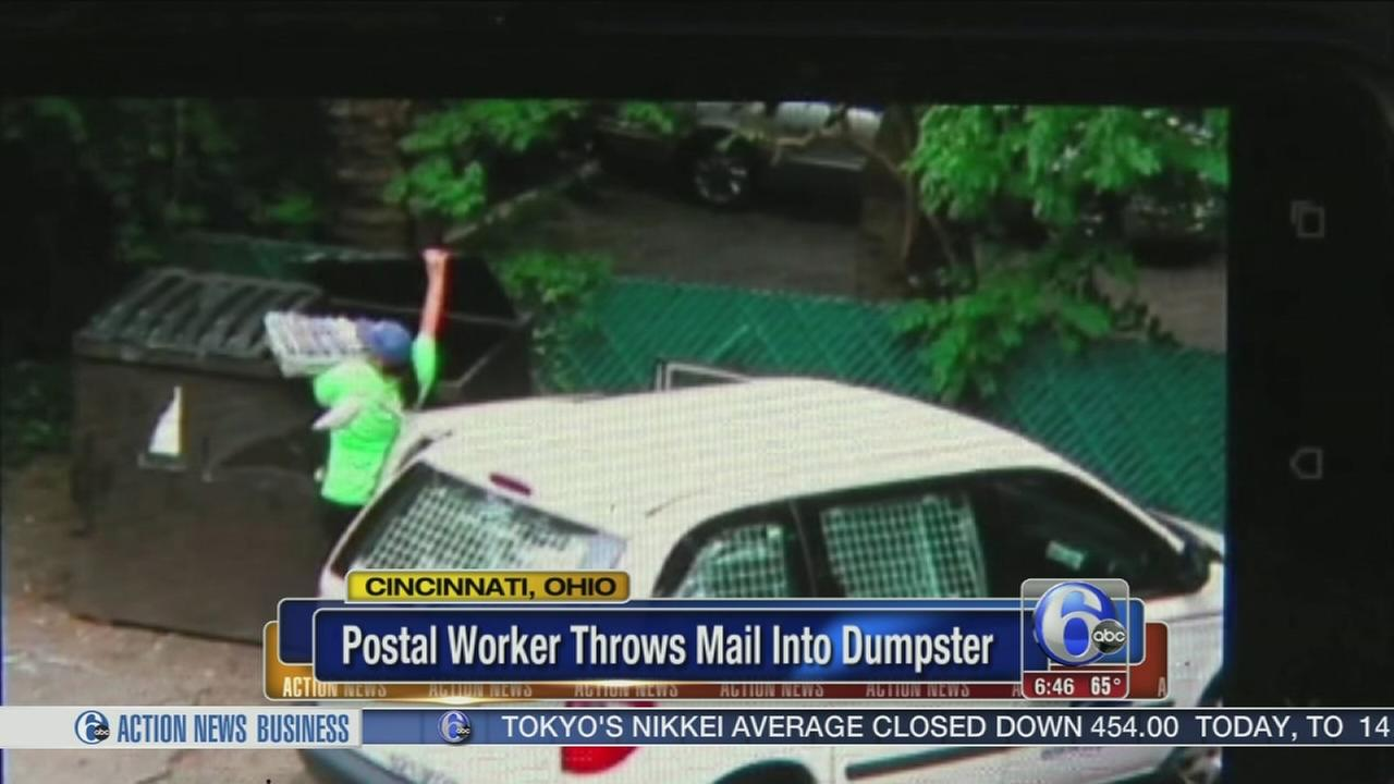 VIDEO: Postal worker caught throwing mail into dumpster