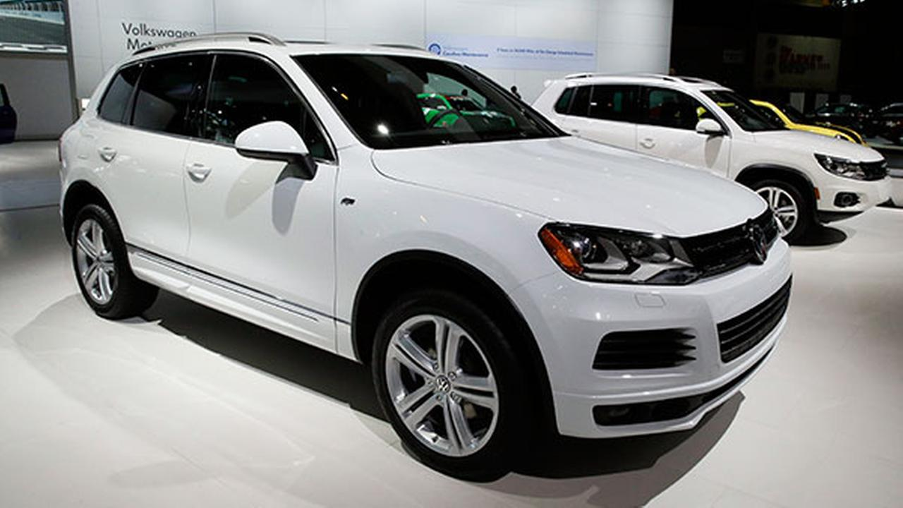 FILE - In this Feb. 7, 2014 file photo, the 2014 Volkswagen Touareg TDI R-Line is on display during the media preview of the Chicago Auto Show.