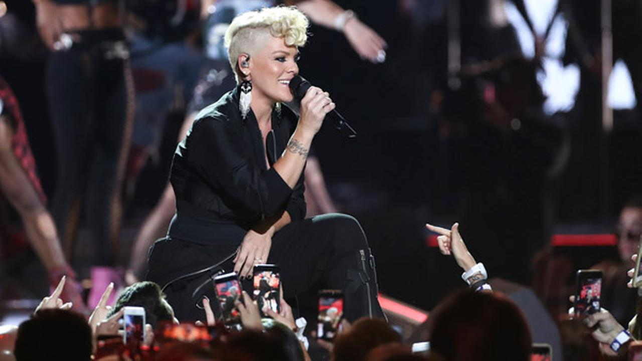 Pink performs at the 2017 iHeartRadio Music Festival Day 1 held at T-Mobile Arena on Friday, Sept. 22, 2017, in Las Vegas.