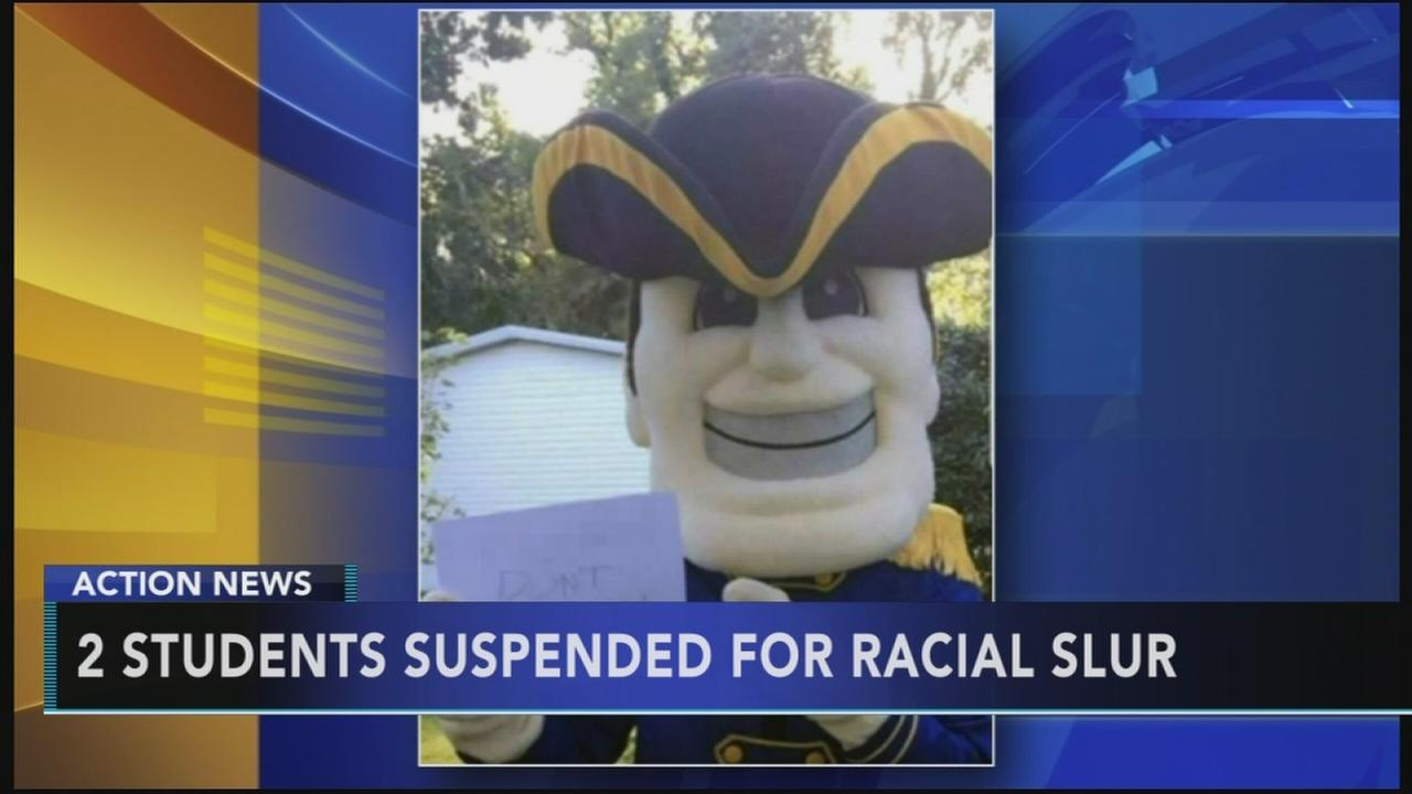 2 students suspended for mascot racial slur post.