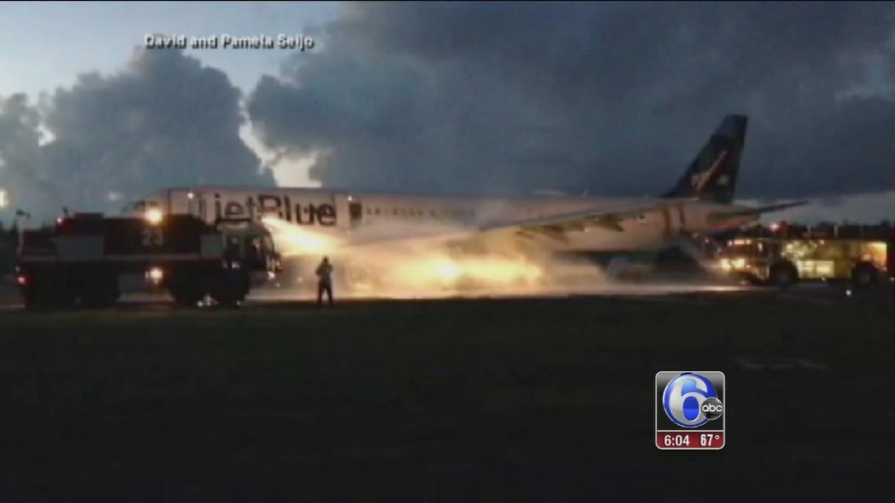 VIDEO: Fire on Jet Blue plane