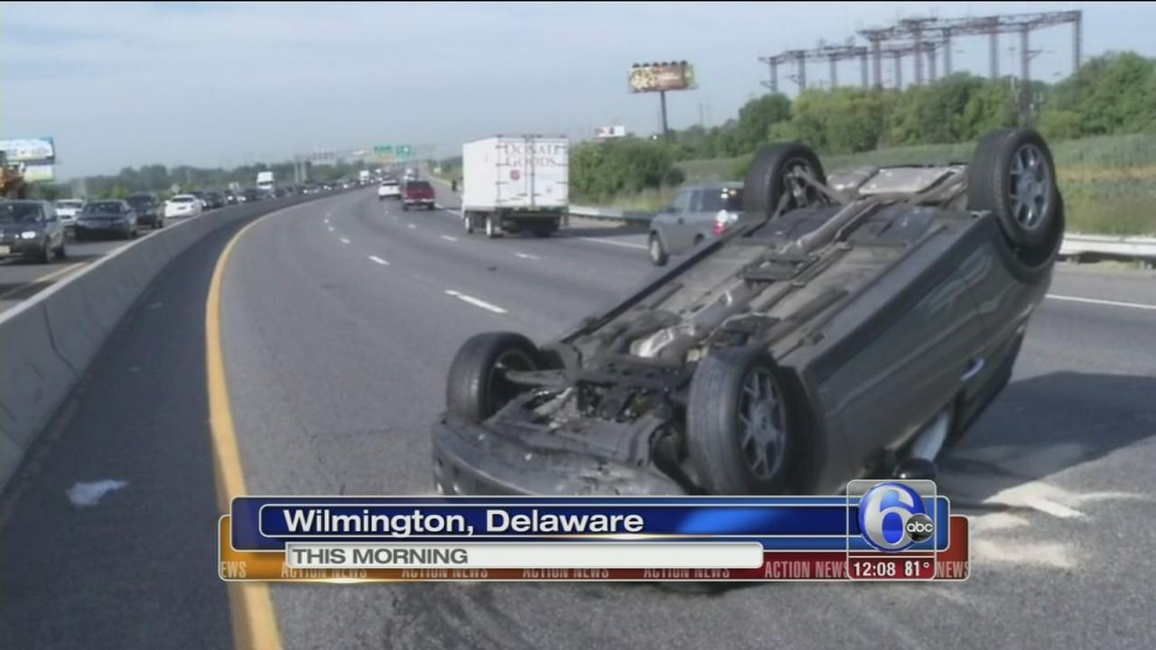 VIDEO: Overturned Mini Cooper on I-95