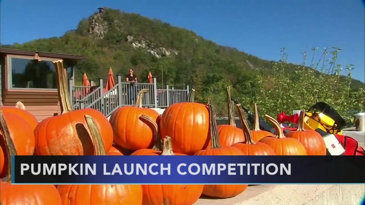 Students take part in pumpkin launch competition in New Jersey