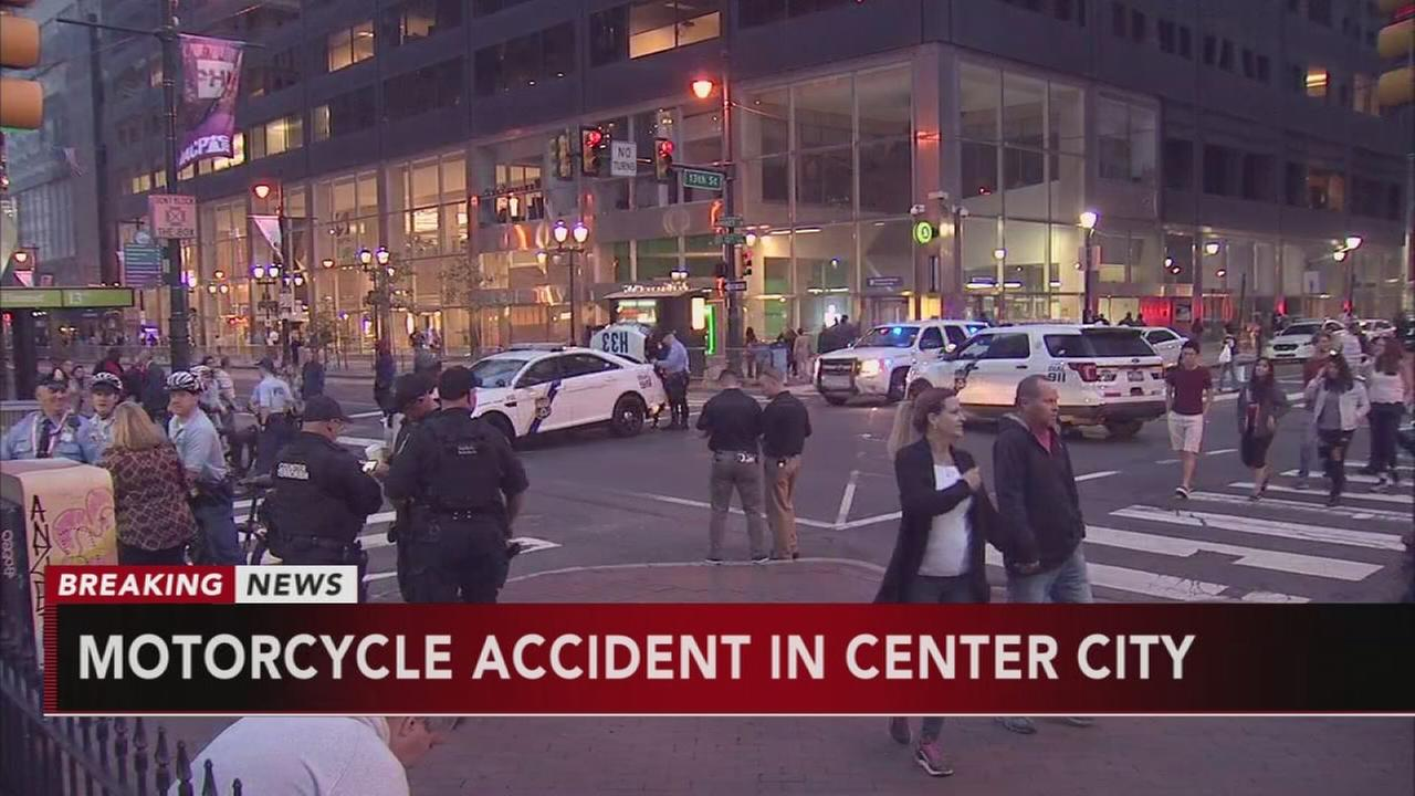 Three officers injured in Center City motorcycle acciden
