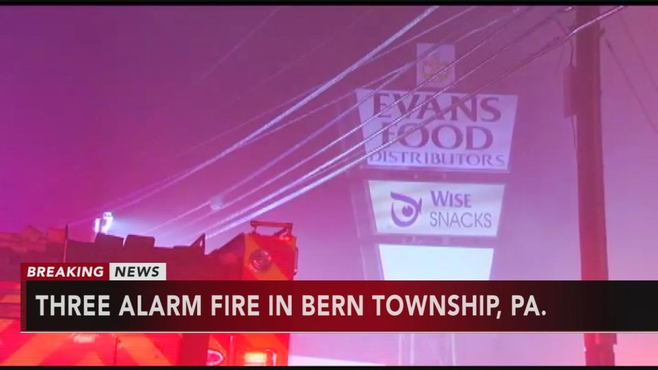 Three-alarm fire in Bern Twp