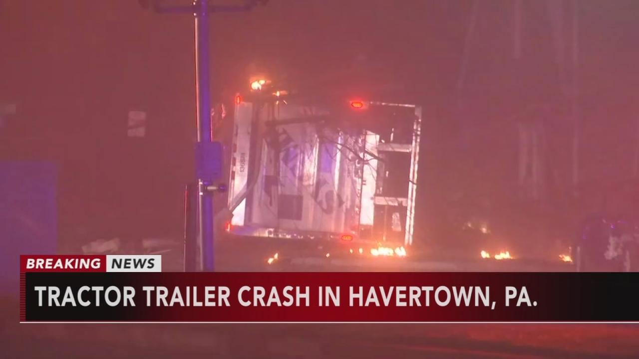 Tractor trailer crash in Havertown, Pa.