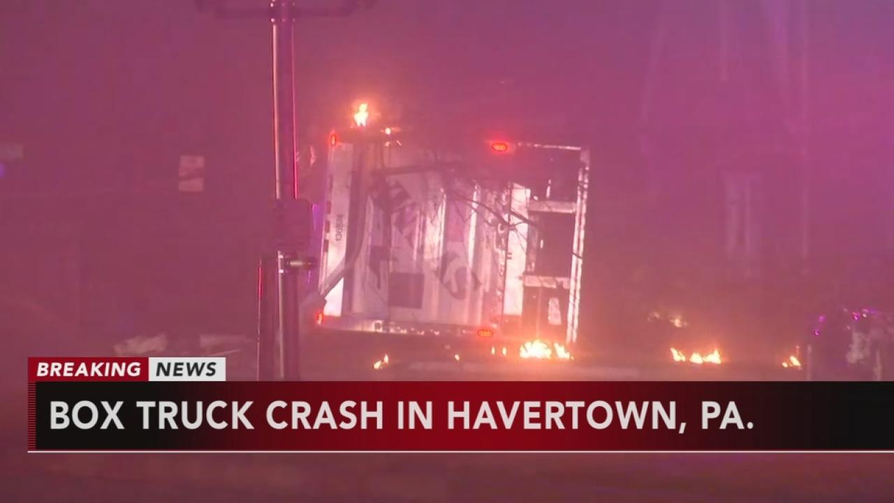 Box truck crashes in Havertown, Pa.
