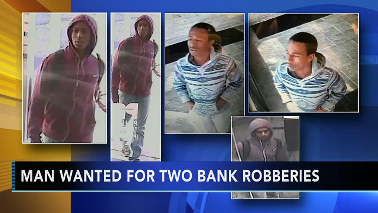 Suspect sought for 2 local bank robberies