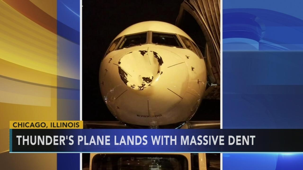 Oklahoma City Thunders team plane lands with massive dent