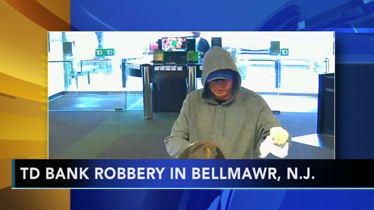 Bank robbery suspect caught on camera in Bellmawr