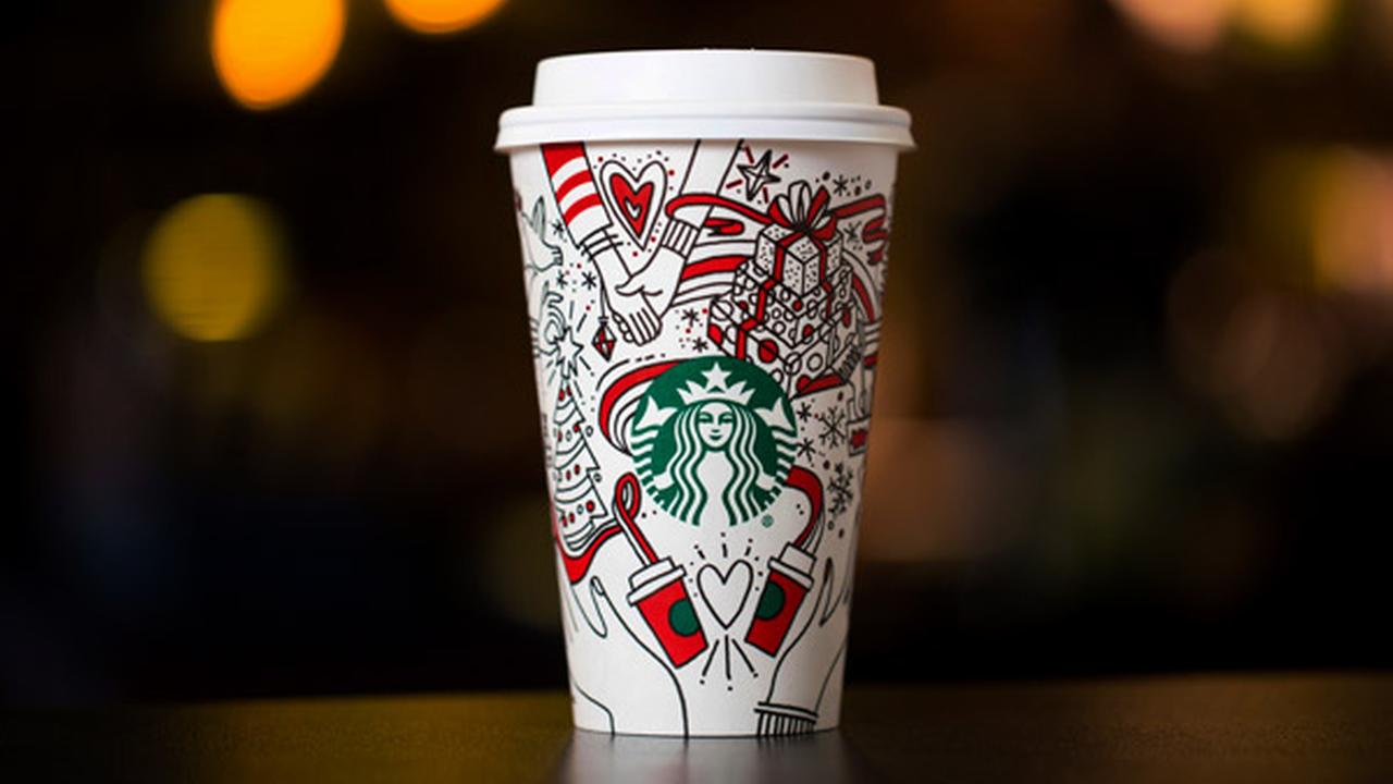 This Monday, Oct. 23, 2017, photo provided by Starbucks shows the companys 2017 holiday cup on display in Seattle.