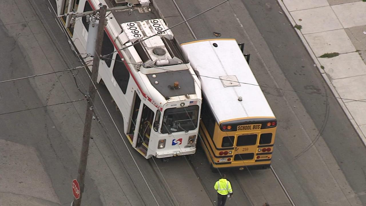 Chopper 6 over bus, trolley crash in Southwest Philadelphia