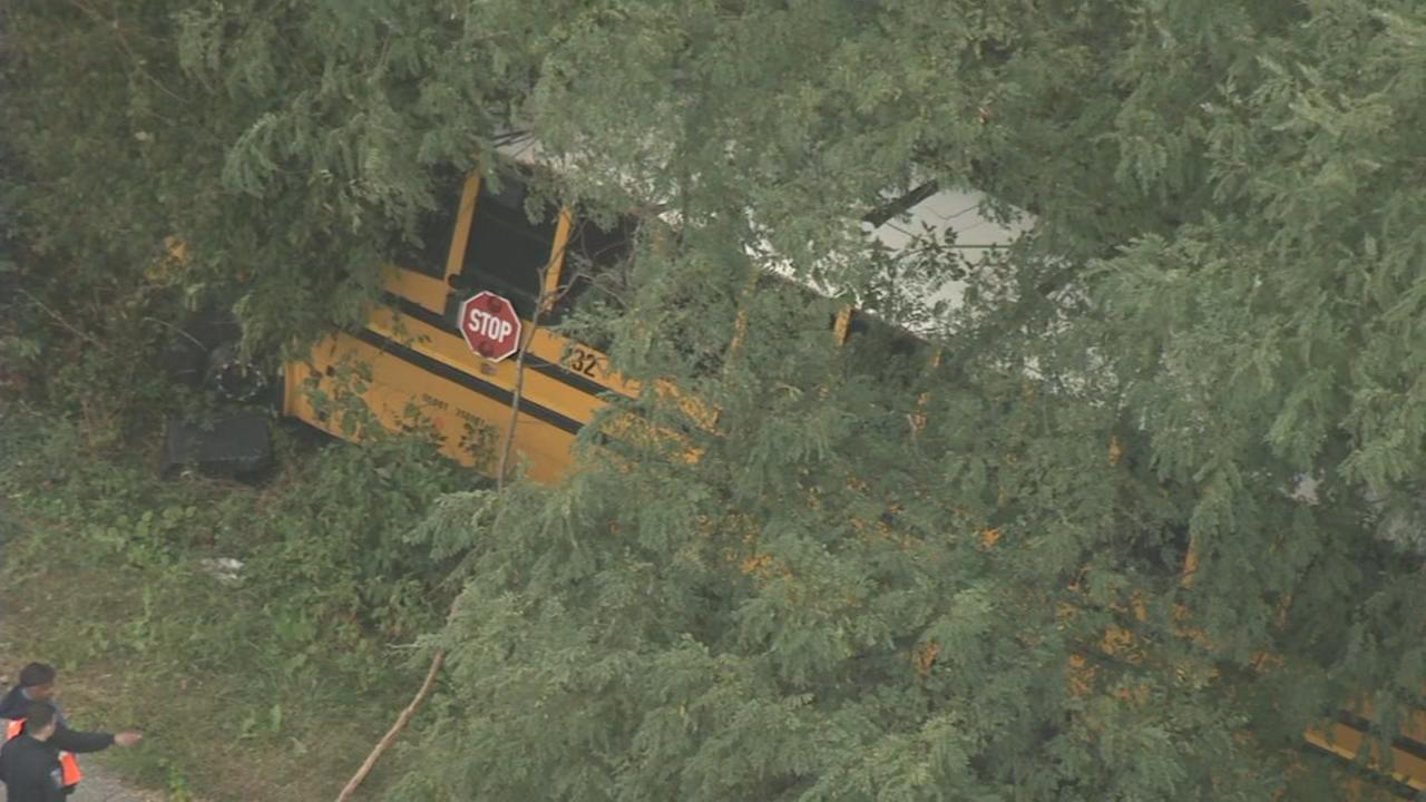 Chopper 6 video: School bus crash in Delaware County