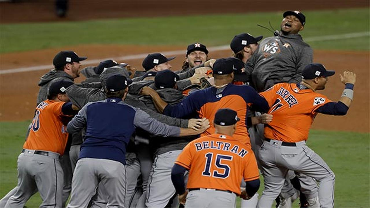 Houston Astros celebrate their win against the Los Angeles Dodgers in Game 7 of baseballs World Series Wed., Nov. 1, 2017, in LA. The Astros won 5-1 to win the series 4-3
