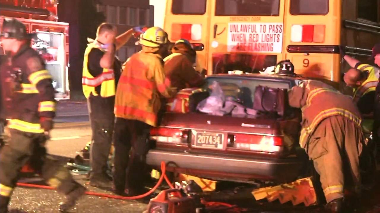 Driver hurt in collision with school bus