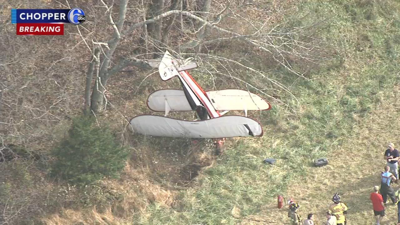 Biplane crashes near Bucks County airport