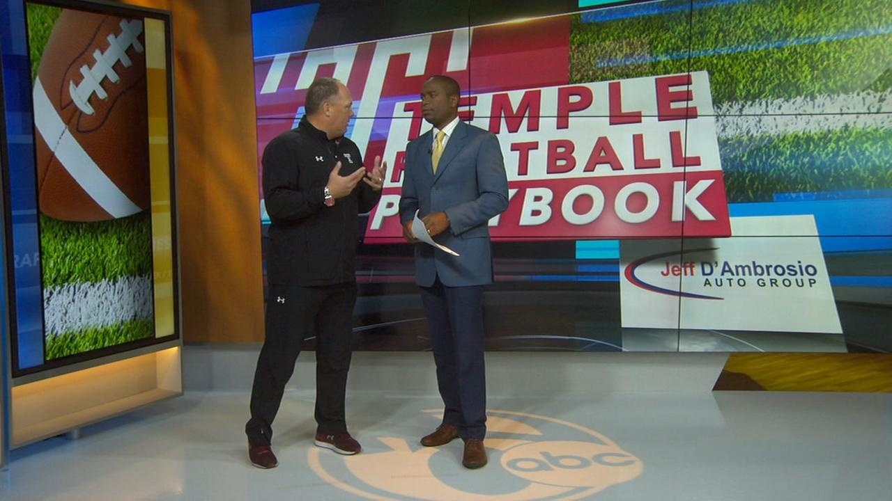 Action News Sports Director Ducis Rodgers talks with Head Coach Geoff Collins on Temple Football Playbook