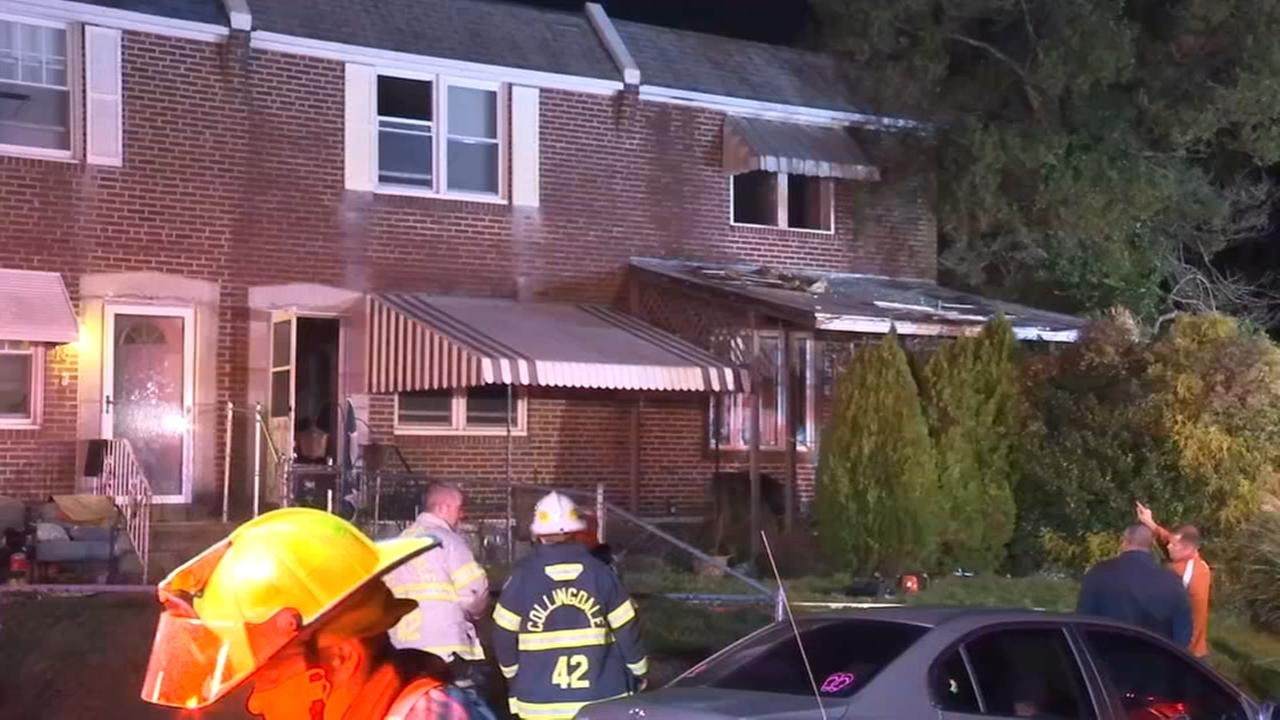 Firefighters battle house fire in Folcroft