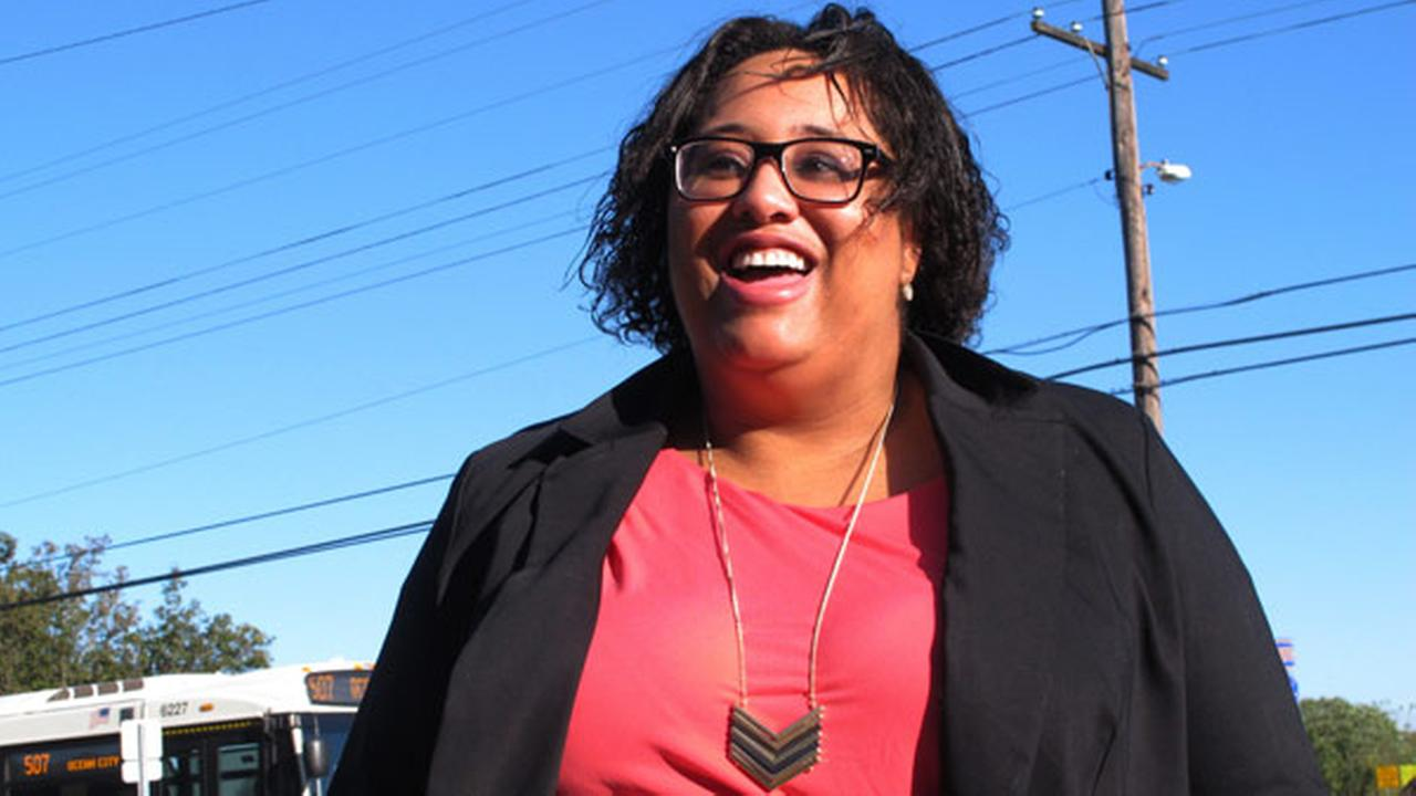In this Oct. 20, 2017 photo, Ashley Bennett, a Democratic candidate for freeholder in Atlantic County, N.J., speaks about her campaign in Northfield, N.J.
