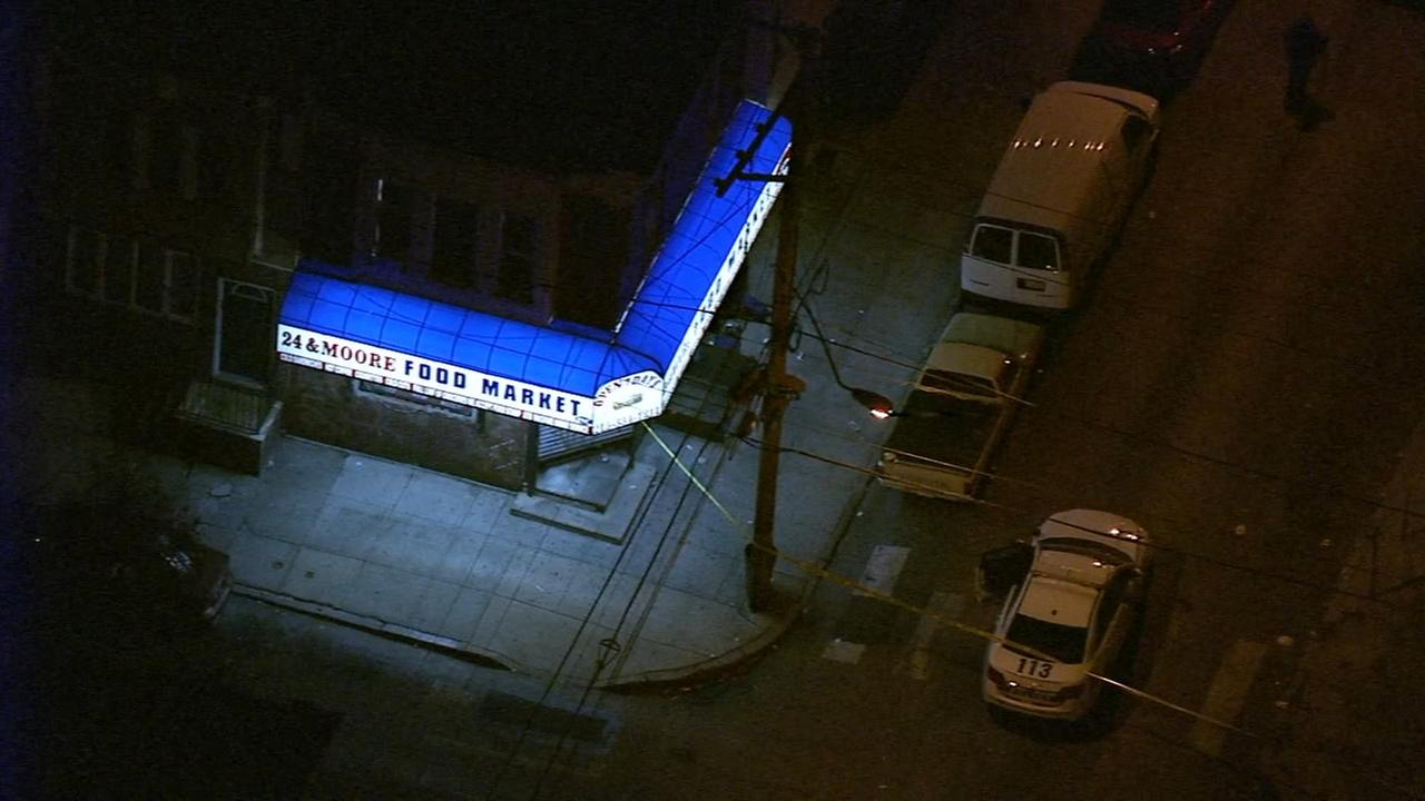 Chopper 6 over the scene of a shooting investigation in South Philadelphia Thursday.