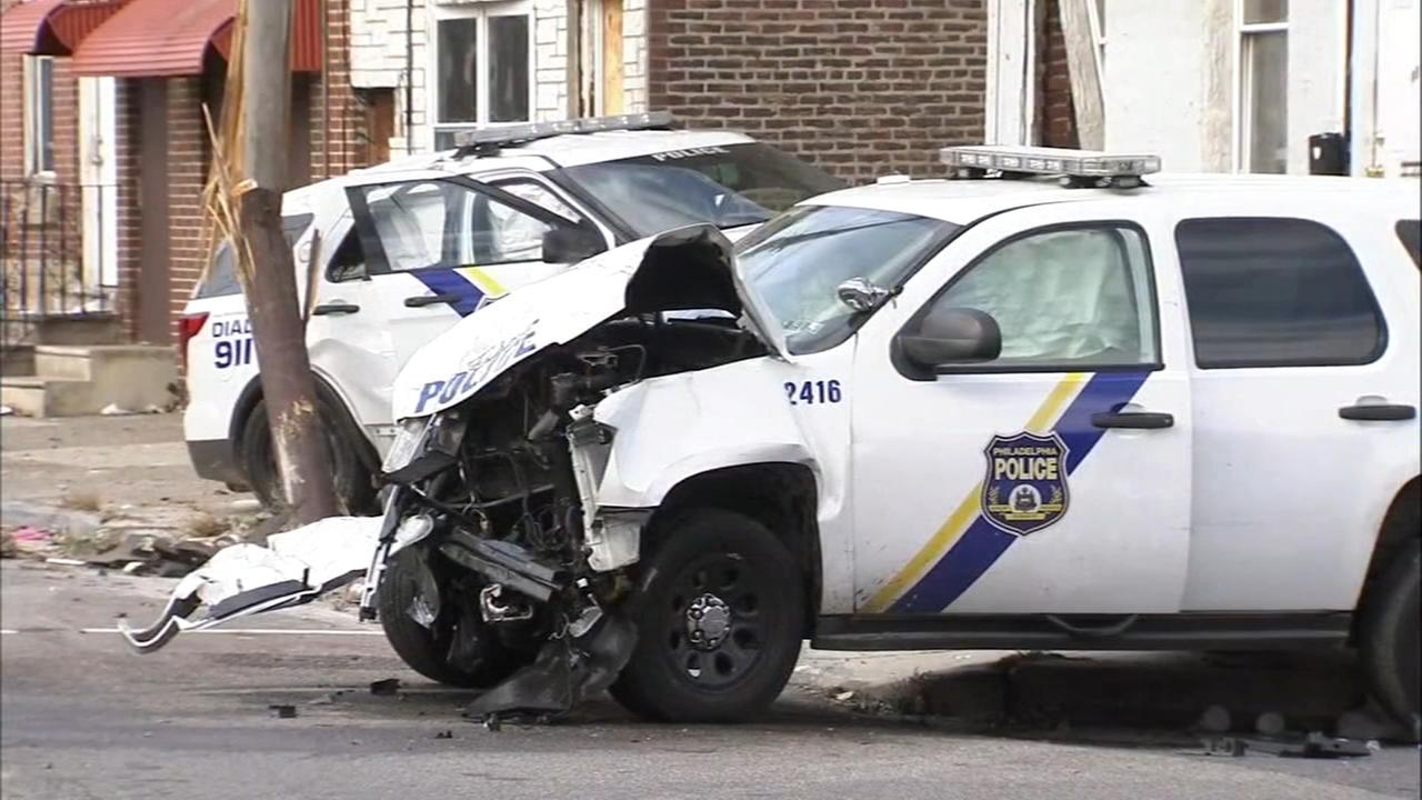 Philadelphia police vehicles collide during pursuit; 4 officers hurt
