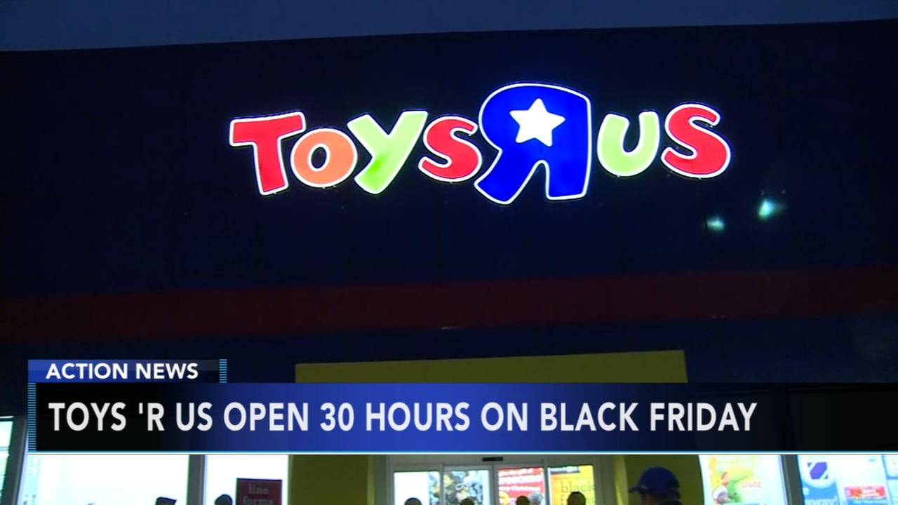 Black Friday hours at Toys R Us will last from 5 p.m. on Thanksgiving Day to 11 p.m. on Black Friday. That's 30 straight hours of in-store shopping. Babies R Us will not be open on Thanksgiving.