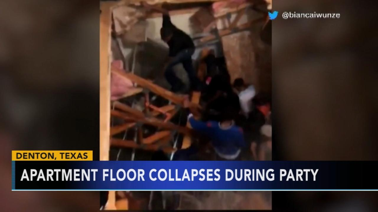 Apartment floor collapses during party