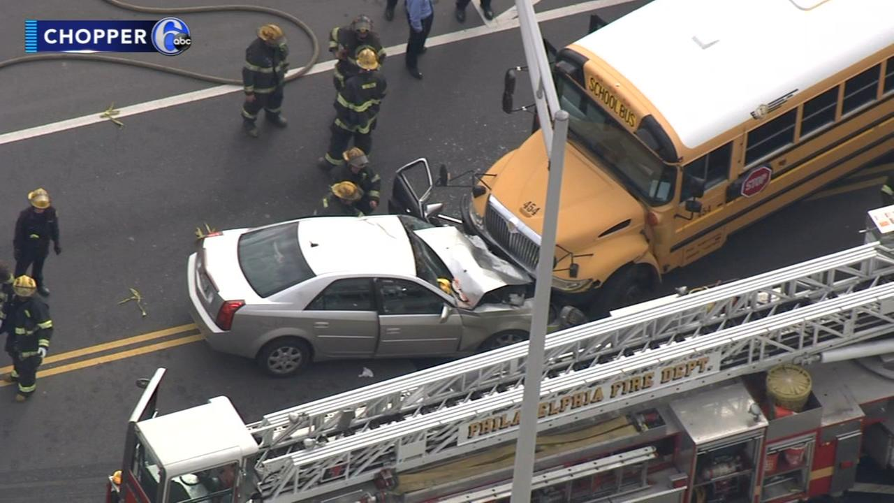 Car, school bus collide head-on in Port Richmond