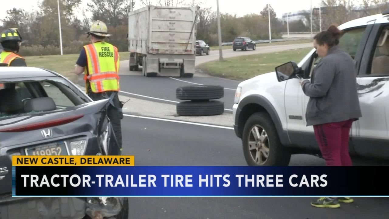 2 hurt after tractor-trailer tire hits 3 cars in Delaware