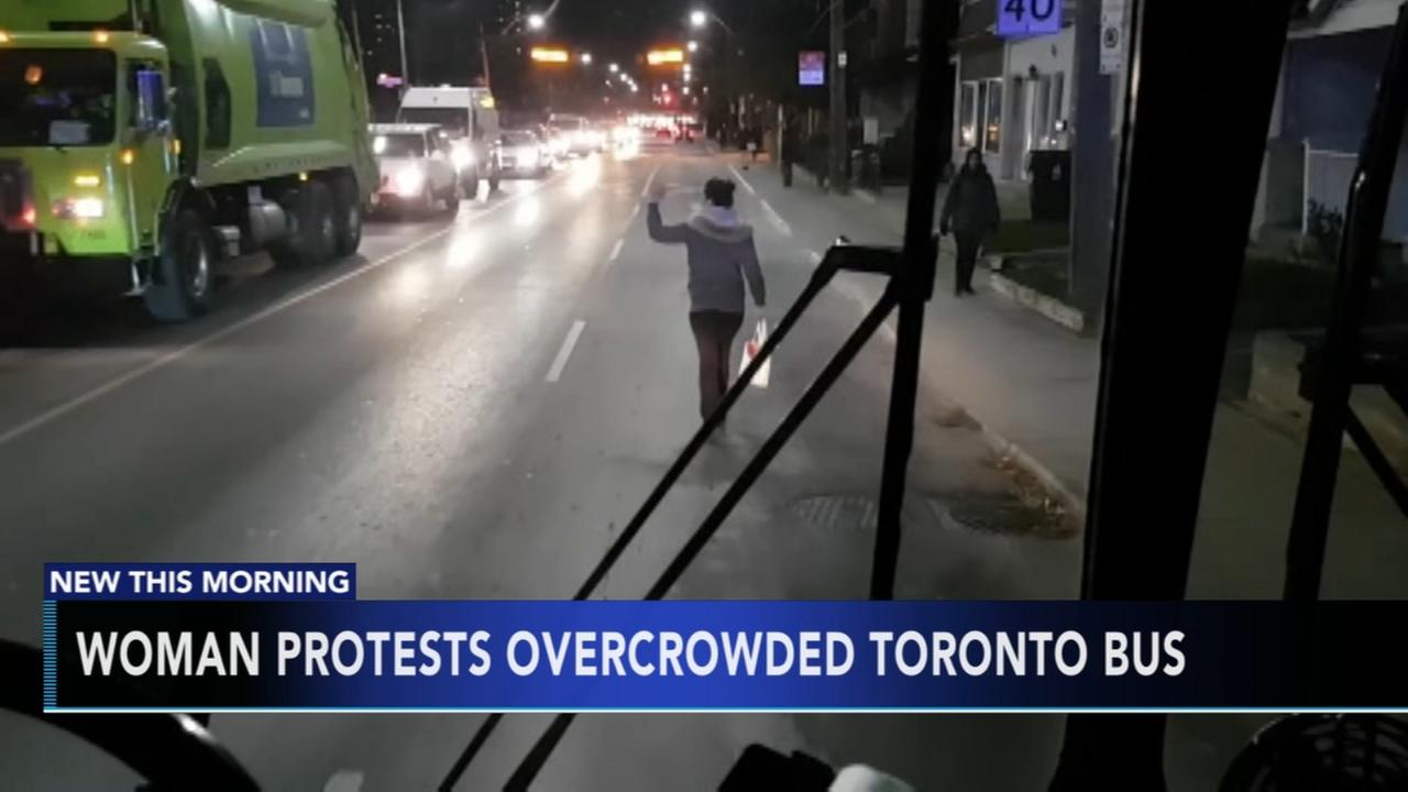 Woman protests overcrowded Toronto bus
