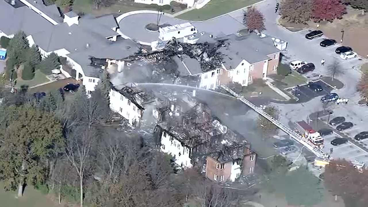 Chopper 6 was over the scene after a massive fire at the Barclay Friends Senior Living Community in West Chester, Pa. on November 17, 2017.