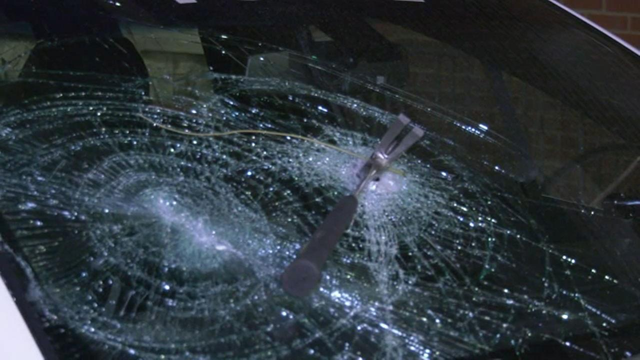 Pictured: Damage after Philadelphia police vehicles and station were targeted by vandals on November 16, 2017.