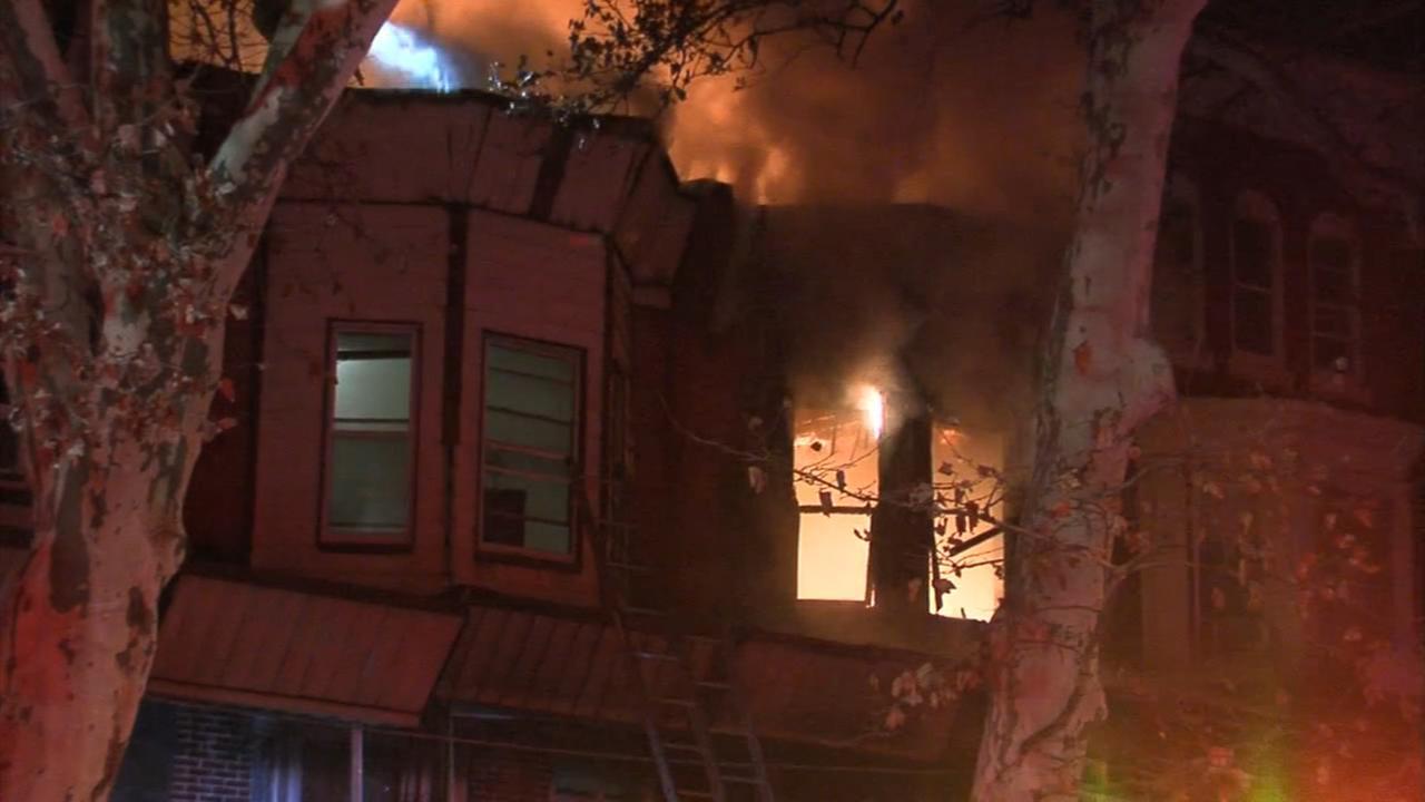 Firefighters battle house fire in North Philadelphia