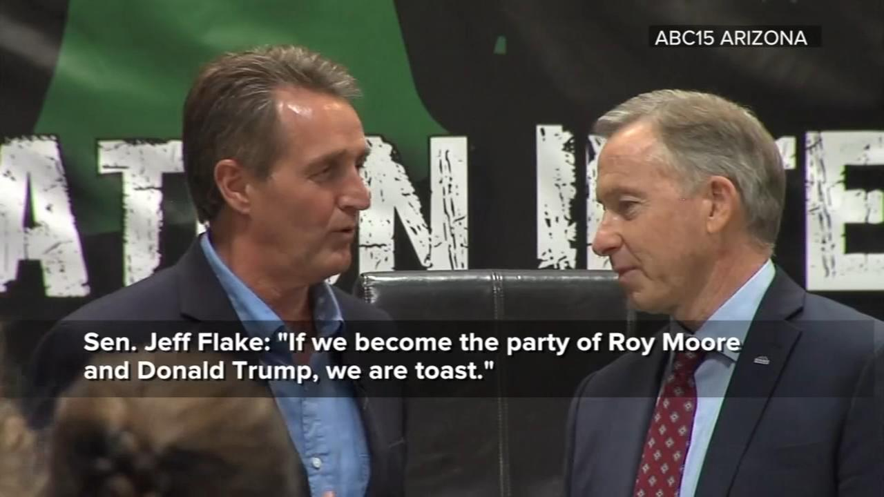 Sen. Flake says GOP is toast if it follows Trump, Moore