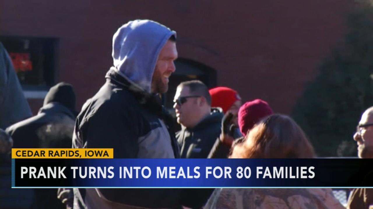 VIDEO: Prank turns into Thanksgiving meals for 80 families