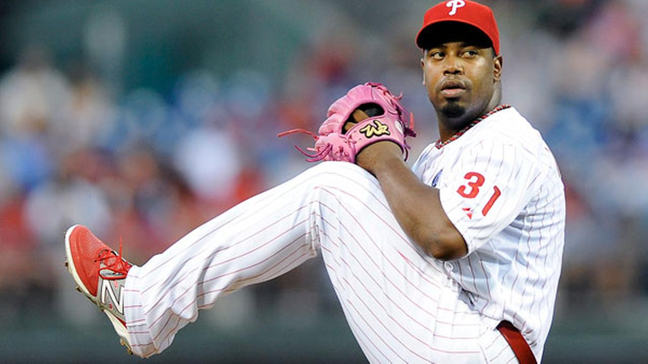 Philadelphia Phillies starting pitcher Jerome Williams throws a pitch during an interleague baseball game against the Seattle Mariners on Monday, Aug. 18, 2014, in Philadelphia.