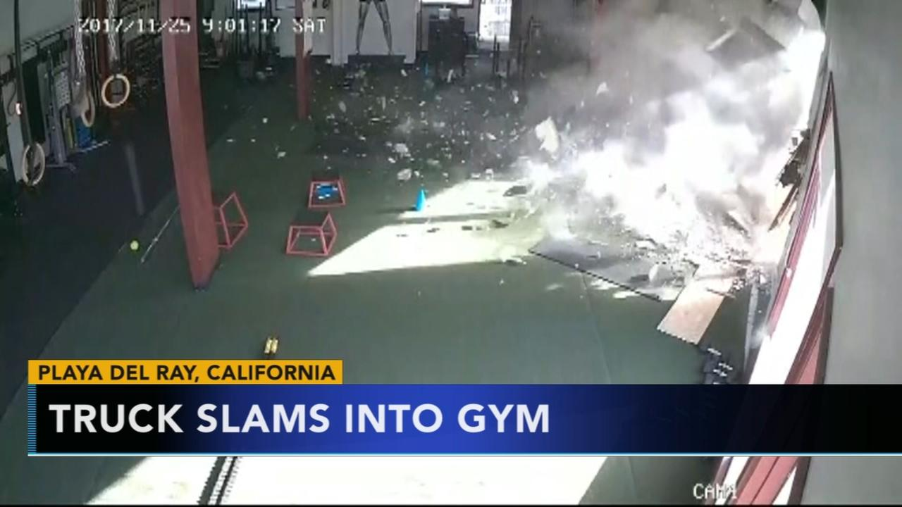 Truck slams into California gym