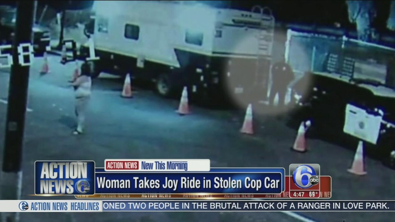 VIDEO: Woman takes joy ride in stolen police car