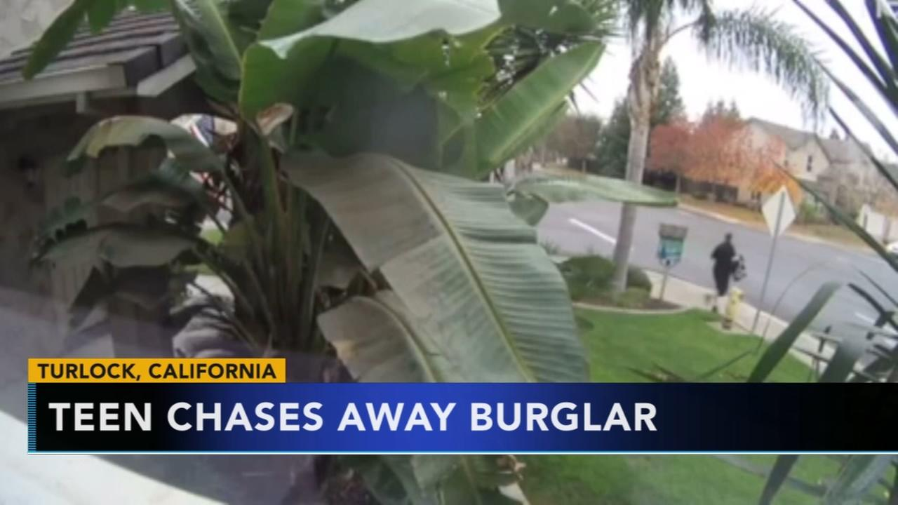 Teen chases burglar away in California
