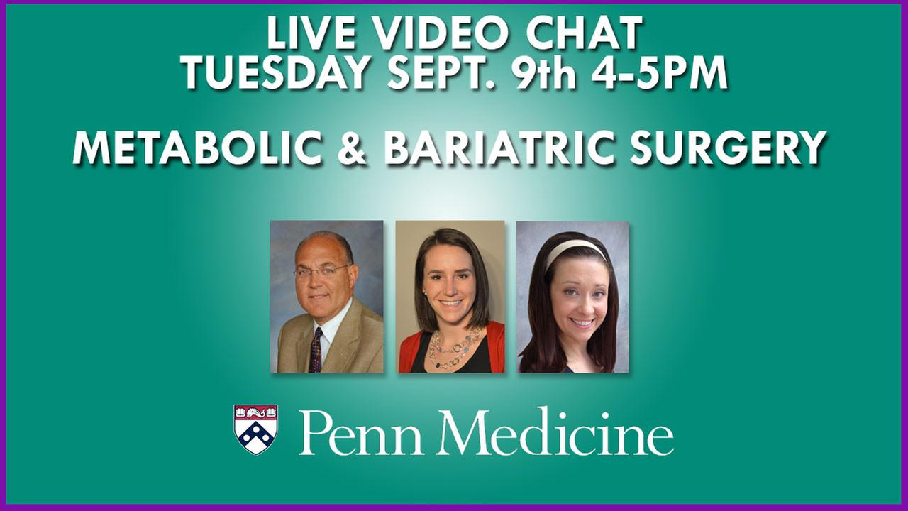 NOEL WILLIAMS, MD, FRSCI, COLLEEN TEWSKBURY, MPH, RD, LDN, and JACQUI ZIPAY, CRNP will be online for a LIVE VIDEO CHAT on Tuesday, September 9th from 4-5PM.