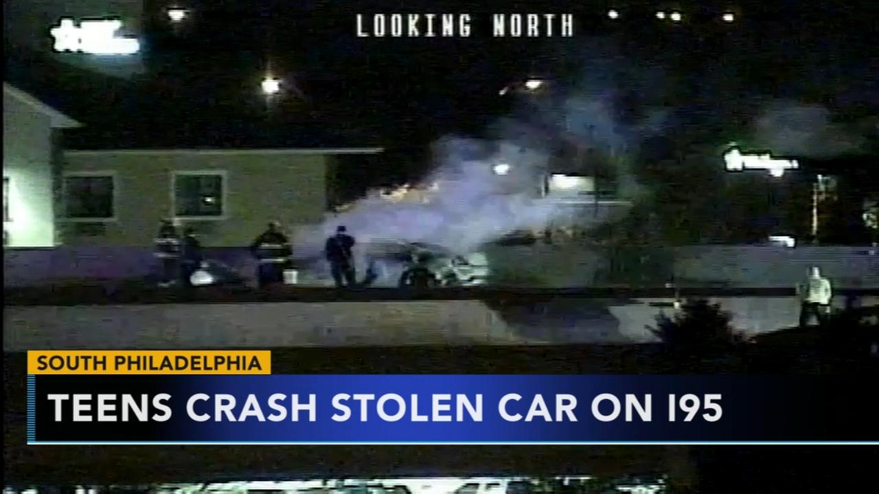 Police chase ends in fiery crash on I-95 in South Phila.