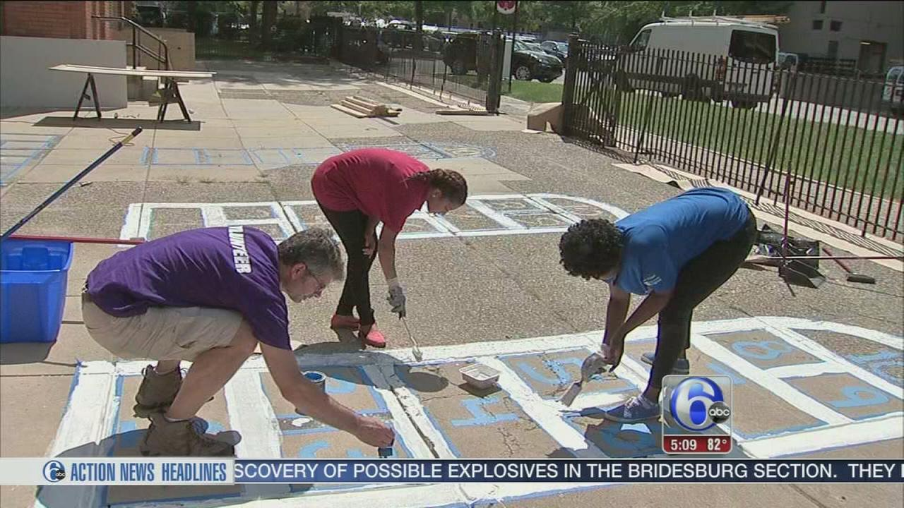 VIDEO: Group spruces up a Philly school for the school year