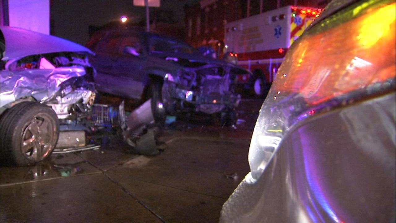 Crash damages building in Strawberry Mansion