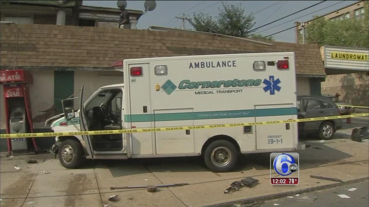 VIDEO: 6 hurt in E. Mt. Airy ambulance crash