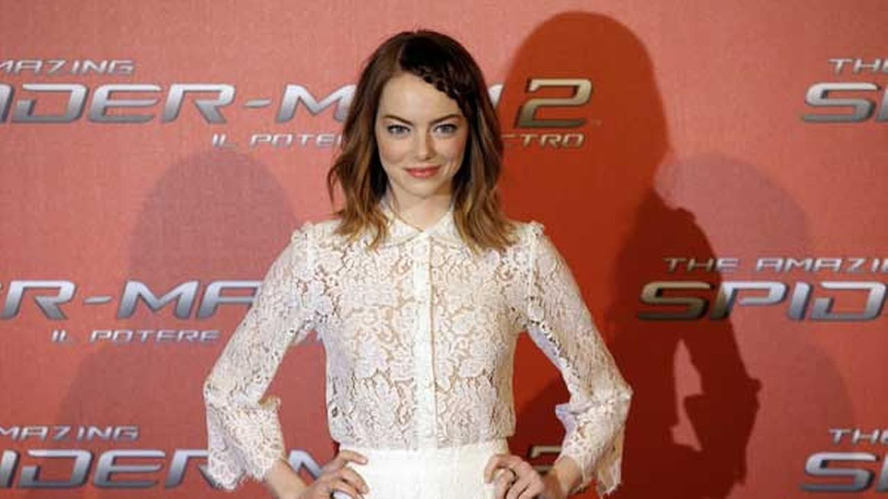 Actress Emma Stone poses for photographers during a photo call of the movie Spider Man 2, in Rome, Monday, April 14, 2014. (AP Photo/Gregorio Borgia)