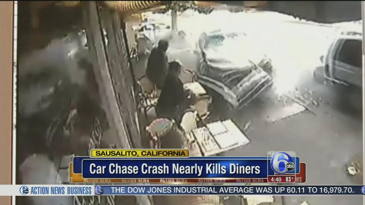 VIDEO: Cafe customers scramble as car crashes
