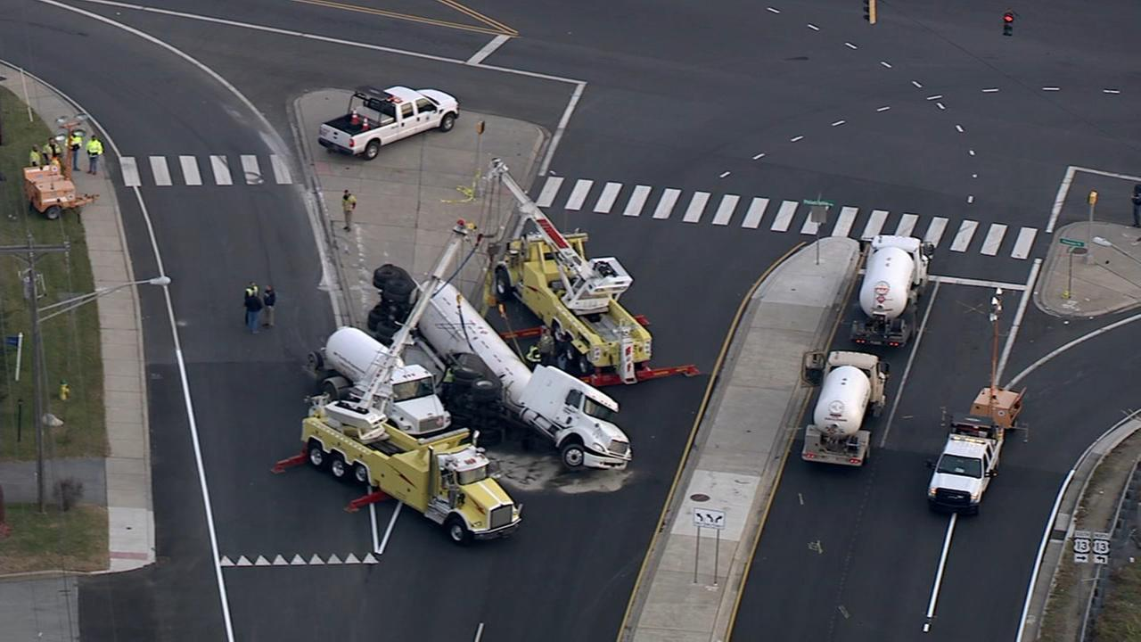 Tanker truck overturns on busy Claymont, Delaware road