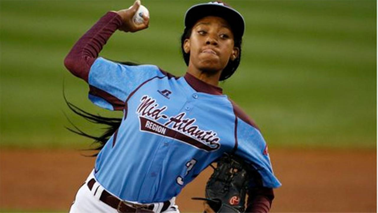 Philadelphia pitcher Mone Davis delivers in the first inning against Las Vegas at the Little League World Series tournament in South Williamsport, Pa., Wednesday, Aug. 20, 2014.