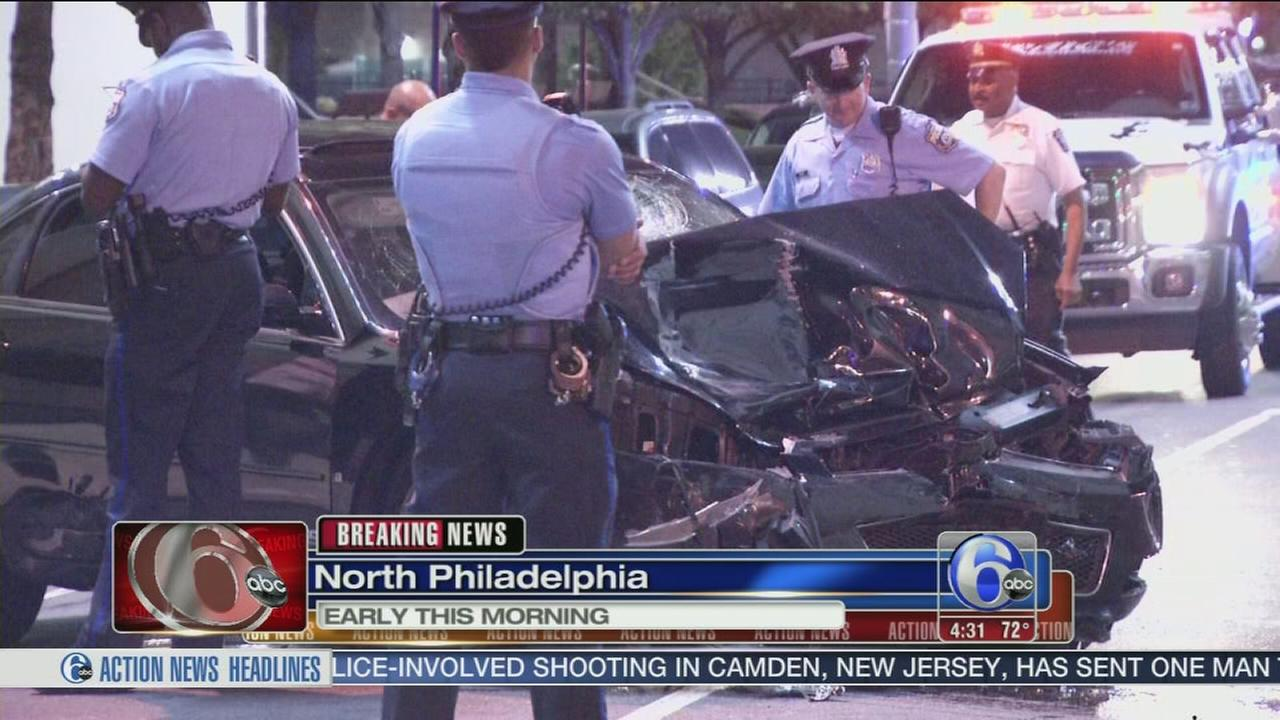VIDEO: Car slams into ambulance in North Philadelphia